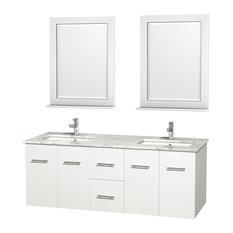"Centra 60"" DBL Vanity Square Sinks 24"" Mirror Matte White White Carrera Marble"