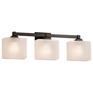 Fusion, Regency 3-Light Bath Bar, Rectangle Shade, Frosted Crackle, Dark Bronze