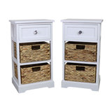 Salford Crystal White Storage Units with 1 Drawer and 2 Basket Units, Set of 2