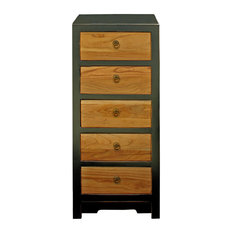 Black & Brown Five Drawers Slim Chest of Drawers Cabinet Hcs4184