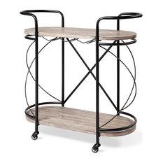 Mercana Marlon Two Tier Wood Shelves And Stemware Holder Bar Cart 68921