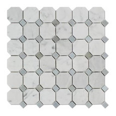 Carrara Italian White 2 Marble, Blue-Gray Dots, Honed Octagon, 10 sq.ft.