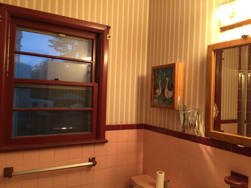 need paint color for 1950's pink tile bathroom