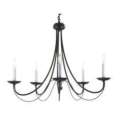 Black Wrought Iron Chandeliers | Houzz:gallert - Versailles Wrought Iron 5-Light Chandelier, Black - Chandeliers,Lighting