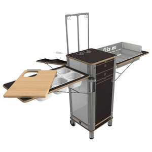 Live Moving Kitchen, Charcoal Grill With 2 Wheels, Dark Brown