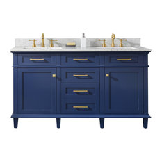 60-inch Blue Finish Double Sink Vanity Cabinet Carrara White Top Blue