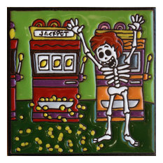 """6""""x6"""" Jackpot Day of the Dead Clay Tile"""