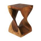 """Strata Furniture Twist Stool, 12""""x20"""", Walnut"""