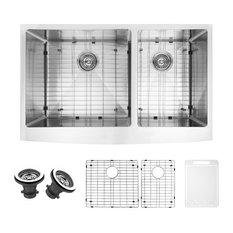 vigo industries   vigo 36   bingham stainless steel double bowl farmhouse kitchen sink set   36 inch kitchen sinks   houzz  rh   houzz com