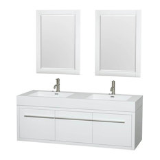 "60"" Double Bathroom Vanity Set in Gloss White"