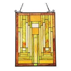 "CHLOE-Lighting LUNDEN Mission Tiffany-glass Window Panel 24"" Tall"