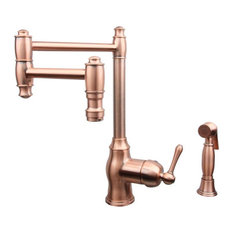 Copper One-Handle Pot Filler Kitchen Faucet, Side Spray