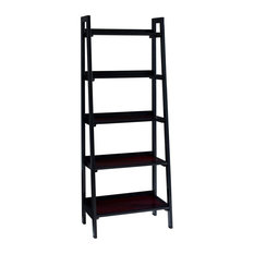 Ladder Style Bookcase Black Frame With 5 Brown Shelves Contemporary