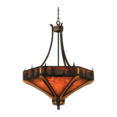 "Natural Iron With Solid Mahogany Treescape 36"" Chandelier"