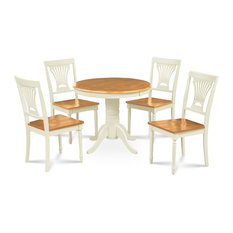 Brookline 36-inch Round Dining Table And Chair Set 5 Piece Wooden