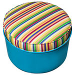Drum Works Furniture - Top Sail Ottoman - Add some green furniture to your life. We recycle and repurpose used steel drums into striking designs. You'll love the fact that we use what industry has already produced and turn it into sturdy and unique furnishings for your home or office. Our products showcase the repurposing movement as a whole, and promote the benefits of using low VOC finishes such as powder coating technology. Our products use; CNC cut components, top grade fasteners and pressure treated wood materials, and are MIG welded for strength and durability. The powder coated finishes of the recycled 55 gallon steel drums are bright and rust resistant. These are real recycled drums, with little dings and dents from years of industrial use, that are sourced from an industrial supplier that cleans and prepares them for repurposed life as furniture. After the drums are transformed into seating designs here at Drum Works Furniture, they are baked at 500 F and then sandblasted and powder coated. But are they comfortable? Yes, the natural curve of the drum is the near optimum match to the natural curve of the back.