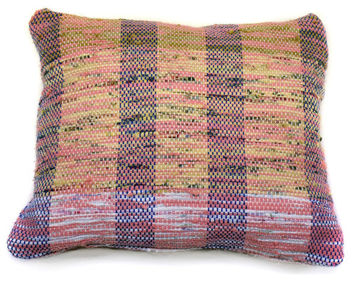 re:loom - re:loom Handwoven Medium Pillow, Pink/Blue/Gold/White - Decorative Pillows