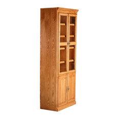 Traditional Oak Bookcase With Doors, Golden Oak