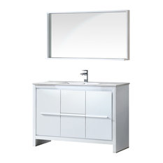 "Allier 48"" White Modern Bathroom Vanity, Mirror, Isarus Chrome Faucet"
