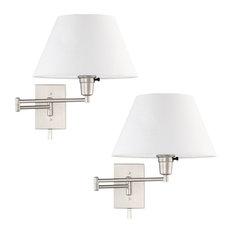 "Kira Home Cambridge 13"" Swing Arm Wall Lamp - Plug In/Wall Mount, Brushed Nickel"