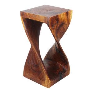 Haussmann® Original Wood Twist Stool 12 X 12 X 23 In High Walnut Oil