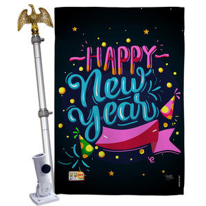 Cheers To Happy New Year Winter Double Sided Flag Modern Flags And Flagpoles By Breeze Decor Houzz