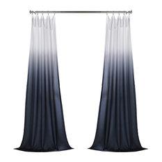 Ombre Faux Linen Semi Sheer Single Panel Curtain, Blue, 50W x 108L