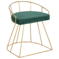 Canary Glam/Contemporary Vanity Stool, Gold Metal and  Green Velvet