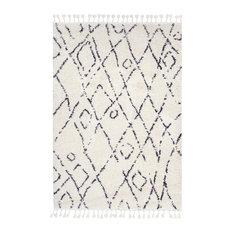 Moroccan Shag Diamond Tassel Off-White Area Rug, 161x232 cm