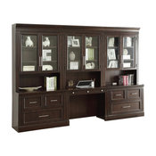 Parker House Stanford 6-Piece Library Wall Desk in Sherry
