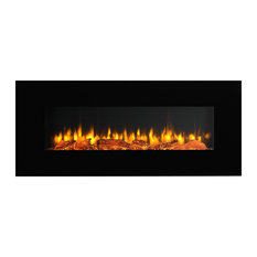 "Puraflame 50"" Wall Mounted Flat Panel 1500W Electric Fireplace, Remote Control"
