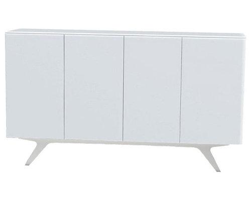 Arctic 40 Sideboard 4D, Vit/Vita Träben - Opbevaringsskabe