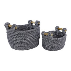 Large Navy Blue Mesh and Cotton Rope Baskets With Teak Wood Handles, 2-Piece Set