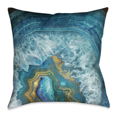 Laural Home - Laural Home Blue Golden Mineral Indoor Decorative Pillow - Decorative Pillows