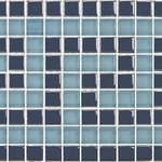 "Artistry in Mosaics - Greek Key Glass Mosaic Tile, Gray and Blue Gray - A sparkling blend gray and slate blue glass. 8mm Crystal glass adds complex beauty and depth to any installation. The color on all crystal glass is kiln fired onto back of tile, not painted on, which means it will never scratch, chip, fade or peel. Instantly and economically transform any space with the use of glass tile. 12""x12"" sheet can be cut in half to produce a 6"" waterline design. Individual chip sizes are 5/8"" x 5/8""."