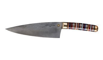 Florentine Three Carbon Steel Chef's Knife, Mixed Wood and Micarta