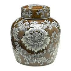 "Orchard Creek Designs - 9"" Brown & Grey Ginger Jar - Decorative Jars and Urns"