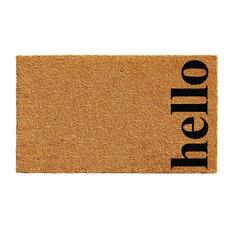 """Vertical Hello Doormat, Natural/Black, 17""""x29"""""""