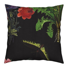 Flowers Butterflies Butterfly Vintage Large Throw Pillow Velvet