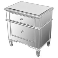 2-Drawer Mirrored Accent Stand