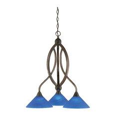 Toltec Bow Chandelier In Black Copper, Blue Italian Glass