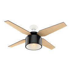 """Hunter Fan Company 52"""" Cranbrook Gloss Black Ceiling Fan With Light and Remote"""