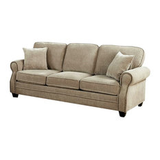 Chenille Fabric Upholstered Solid Wood Sofa with Nail head Trim Details, Beige