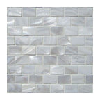 """12""""x12"""" White Mother of Pearl Minibrick Tile, Polished, Single Sheet"""