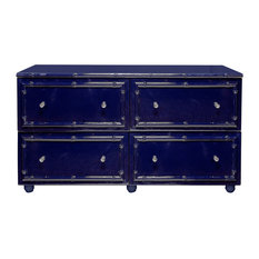 Bamboo Detailed 4-Drawer Lacquer Dresser, Navy