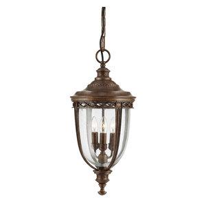 English Bridle 3-Light Outdoor Hanging Light, British Bronze, Large