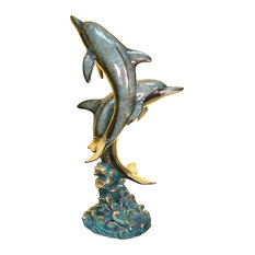 Two Dolphins Bronze Fountain Sculpture, Special Patina Finish