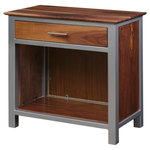 Knot and Ore - Squarepipe Nighstand, Walnut and Silver - An accent piece with bold walnut grain and timeless silver.
