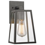 "ChloeLighting - Leodegrance 1 Light Outdoor Wall Sconce 11"" High, Textured Black - The Leodegrance Outdoor Wall Sconce features an expert blend of traditional and contemporary styles. A black frame encloses clear beveled glass. An open bottom makes it easy to change bulbs. Place this piece wherever you need lighting outdoors."