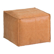 Brody Transitional Square Pouf, Distressed Brown Faux Leather